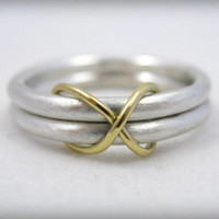 sterling silver wedding ring or commitment ring with 18 karat gold infinity