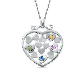 Personalized Family Hearts Pendant in Sterling Silver by NaomisCo2
