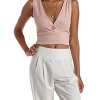 Blush Slub Knit Ribbed Wrap Crop Top by Charlotte Russe