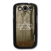Hipster Quote - Do Everything Regret Nothing Misty Woods - Protective Designer BLACK Case - Fits Samsung Galaxy S3 SIII i9300