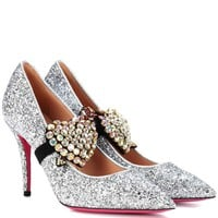 Embellished glitter pumps