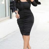 Black Ruffle Off Shoulder Plus Size Ruched Bodycon Elegant Party Midi Dress