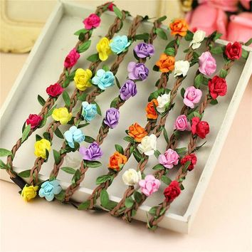 ICIKHY9 8pcs/lot Boho Style Floral Flower Women Girls Hair  Headbands  band  Festival Party Wedding hair accessories for girls lot