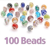 Beadaholique Glass Lampwork European Style Beads, Assorted Shapes and Colors, Clear