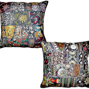 2pc Black Indian Patchwork Pillow Cover, Black Bohemian Pillow, Indian Cushion Cover, Large Throw Pillow , Floor Pillow, Ethnic Pillow Decor