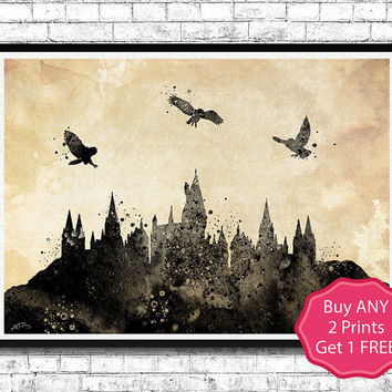 Hogwarts Castle 6 Harry Potter Black Watercolor Art Print Archival Fine Art Print Home Decor Children's Wall Art Wall Hanging Birthday Gift