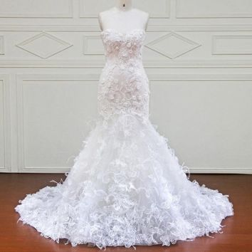 New Design Mermaid Lace Wedding Dresses Sweetheart 3D Flower Sexy Vintage Wedding Gowns