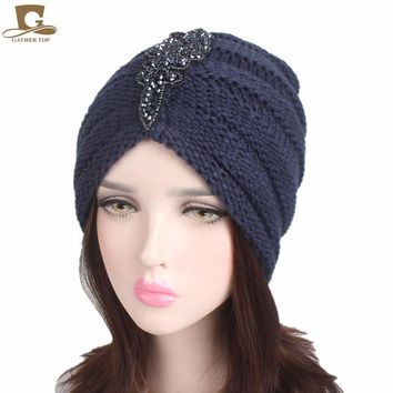 NEW Winter Warm Women Slouchy Beanie Beaded Flower Knit Turban Skull Cap Peaded Baggy Knitted Hat