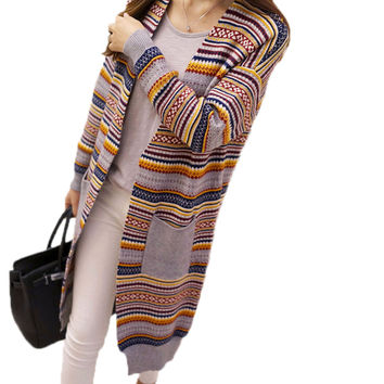 Autumn Winter Women Cardigans Sweaters V-neck Loose Type Knitting Women Cardigan Sweater Coat