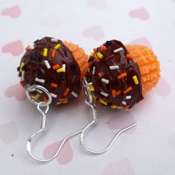 Halloween cupcake polymer clay earrings fall color