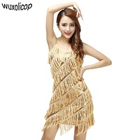 Woman Flapper Fringe 1920s Gold Vintage Great Gatsby Sequin Party Dress Slip Sexy Summer Dress