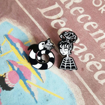 Beetlejuice Lydia Deetz and SandWorm Lapel Pin Set By VOIDEaD