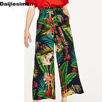 Vintage Tropical Floral Leaf Print Wide Leg Pants Sashes Tied Bow Women High Waist Loose Trouser Casual Pants Streetwear Summer