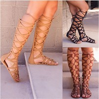 2018 Womens Knee High Cut Out Gladiator Sandals Lace Up Ladies Flat Summer Shoes