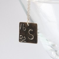 Chemical element initial silver pendant