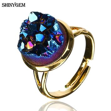 ShinyGem Natural Druzy Opal Ring Gold Plating Big Stone Rings For Women Adjustable Size Multi Colors Elegant Crystal Party Rings