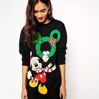 Black Mickey Mouse Print Long-Sleeve Dress Shirt