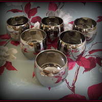 Mid Century Vintage Silver Roly Poly Glasses Set of 6