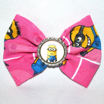 Despicable Me Inspired Bow Pink Background With Minions Inspired Bottle Cap Image