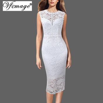 Vfemage Women Sexy Elegant Full Floral Lace Scallop Round Neck Sleeveless Cocktail Wedding Party Bridal Bodycon Pencil Dress 498