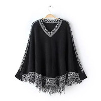 Geometric Pattern Fringed Long-Sleeve Loose Sweater