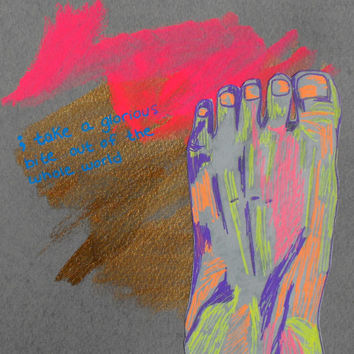 Mixed media, Drawing, Gouache, Feet, Original, Paper, Small, Quote, Metallic, Sketch, Pink, Purple, Gold, Teal, Words, Grey