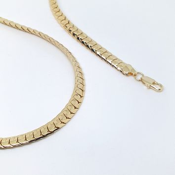 1-1706-g7 Gold Plated Flattened Snake Necklace.