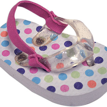 true ziggles white polkadot flip flop baby crib shoe Case of 12
