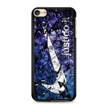 iPod Touch 4 5 6 case, iPhone 6 6s 5s 5c 4s Cases, Samsung Galaxy Case, HTC One case, Sony Xperia case, LG case, Nexus case, iPad case, just do it cracked glass blue Nike Cases