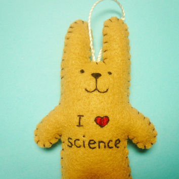 "Felt ornament ""I love science"" rabbit, geeky ornament, nerdy gift, math ornament, science ornament, Christmas ornament, funny ornaments"