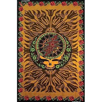 Handmade Grateful Dead Steal Your Face Roses Hippie Tapestry Wall Art Hang Brown