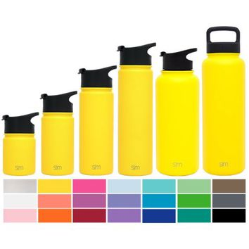 Simple Modern 14oz Summit Kid's Water Bottle + Extra Lid - Vacuum Insulated Powder Coated Reusable Vessel 18/8 Stainless Steel Flask - Yellow Hydro Travel Mug - Sunshine - Walmart.com