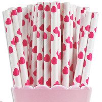 Hot Pink Heart Paper Straws