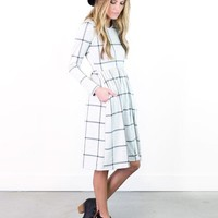 Briley Windowpane Fit & Flare Dress