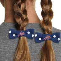 Atlanta Braves Youth Girls Bow Pigtail Holder - Navy Blue