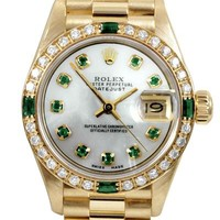 Rolex Ladies 18K Yellow Gold Presidential  Watch with 0.70ctw Diamond Bezel and Emeralds - Rolex Preloved - Modnique.com