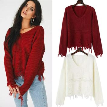 Women's Fashion Sweater Ripped Holes Knit Hollow Out Bottoming Shirt [31069339674]