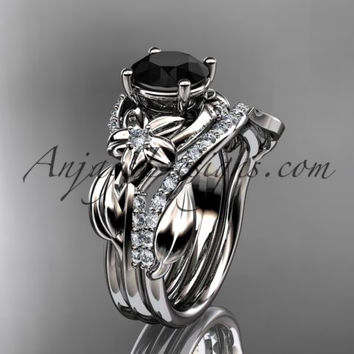 Unique 14k white gold diamond flower, leaf and vine wedding ring, engagement set with a Black Diamond center stone ADLR224S