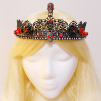 Sugar Skull, Crown, Halloween Goth, Day of the Dead Gothic Black Red Cross Rhinestone Skulls Tiara Queen Princess Dia de Los Muertos Costume
