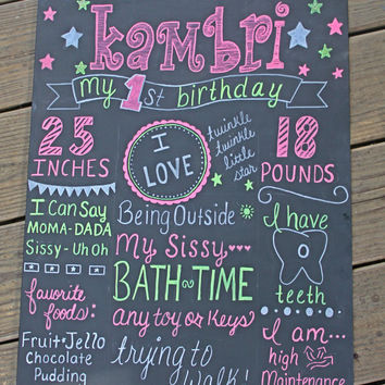 1st Birthday Chalkboard Sign, 1st Birthday Hand-Painted Sign, Memory, first birthday, twinkle, shabby vintage personalized chalkboard,