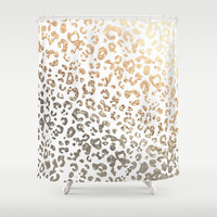 GOLD LEO Shower Curtain by Monika Strigel