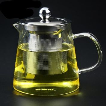 Hand-blown Heat Resistant Glass Tea Pot Classic Stainer Heatable