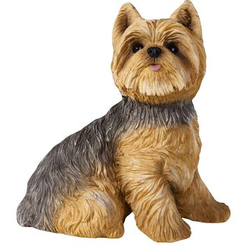 "Sandicast ""Small Size"" Sitting Yorkshire Terrier Dog Sculpture"