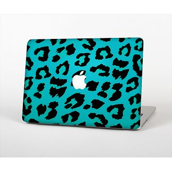 The Hot Teal Vector Leopard Print Skin Set for the Apple MacBook Pro 15""