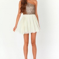 Missguided - Jouella One Shoulder Sequin Contrast Dress