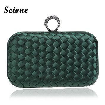 Woven Evening Bag Clutches Wallet Knuckle Finger Rings 2016 Women Party Purse Evening Clutch Bag Knitted Clutch Bag Luxury Color