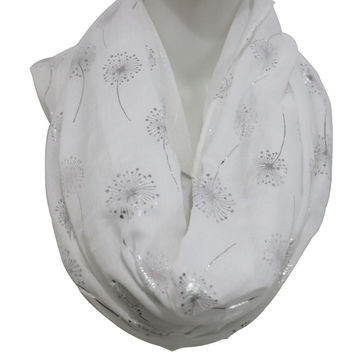 FOXMOTHER 2017 New Fashionable Woman White Navy Grey Shiny Bronzing Silver Dandelion Infinity Scarf Womens