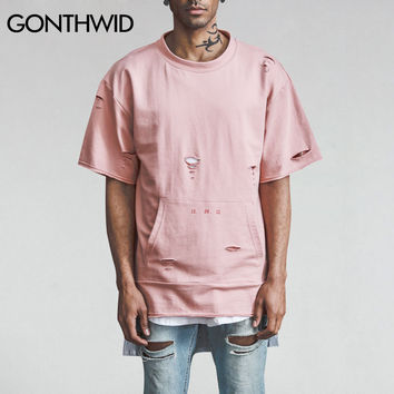 Men's T-Shirt Distressed Ripped Holes Pink Tops Tee Male Hip Hop Casual Cotton Pockets T Shirts