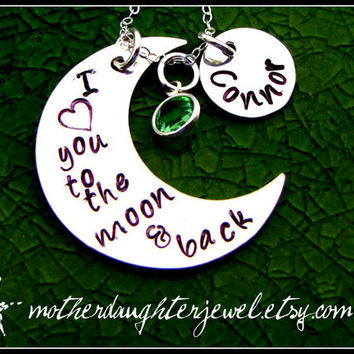 "Personalized Necklace - Hand Stamped Mommy Jewelry - ""I Love You To The Moon & Back"" - Half / Crescent Moon"