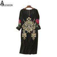 Vintage Black Women Dresses 2017 Autumn New Fashion Full Sleeve Flowers Mid-Calf Roble Designer Embroidery Sequined Dress
